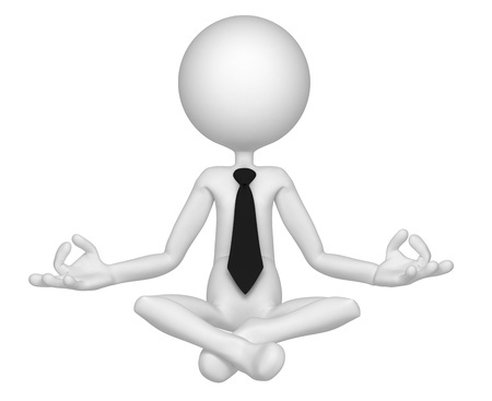10711530 - relaxed businessman meditating in lotus position. isolated