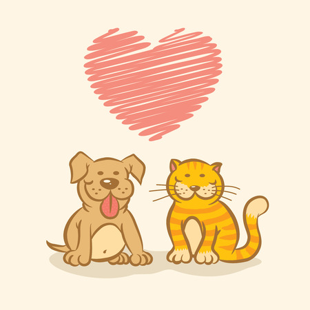 30676331 - illustration od a dog and cat